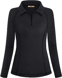 Miusey Womens Quarter Zipper Long Sleeve Running Active Tee Workout Polo Shirts