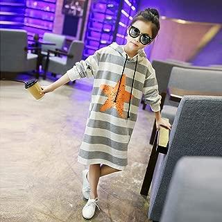 Girls Dress Hooded Striped Long Sleeve Kids Dresses Teen Winter Girls Clothes 4-14 Years