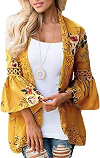 zhaoabao-AU Womens Bell Sleeve Fashion Lace Floral Print Stitching Cardigan Coat