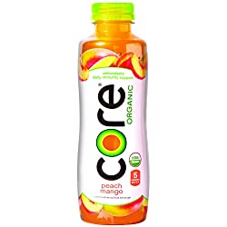 CORE Organic, Peach Mango, 18 Fl Oz (Pack of 12), Fruit Infused Beverage, Vegan/Gluten-Free, Non-GMO