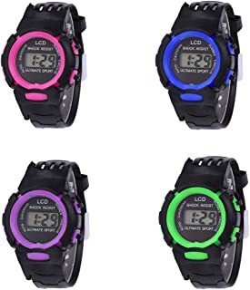 RONSHIN Gifts for Children Student LCD Digital Watch EL Luminous Week 24 Hour Display Sports Wristwatch Boy Girl Gift Rose red