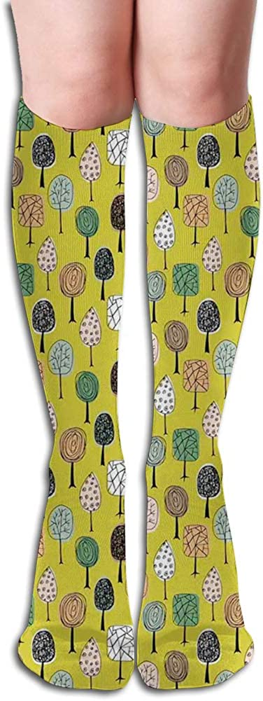 Men's and Women's Funny Casual Combed Cotton Socks,Hand Drawn Colorful Autumn Woodland with Swirls and Mosaic Pattern Trees