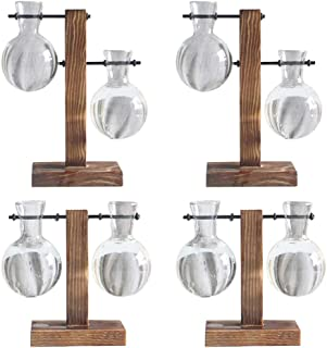 Flameer 4PCS Desktop Glass Planter Bulb Vase W/Retro Solid Wooden Stand & Metal Holder