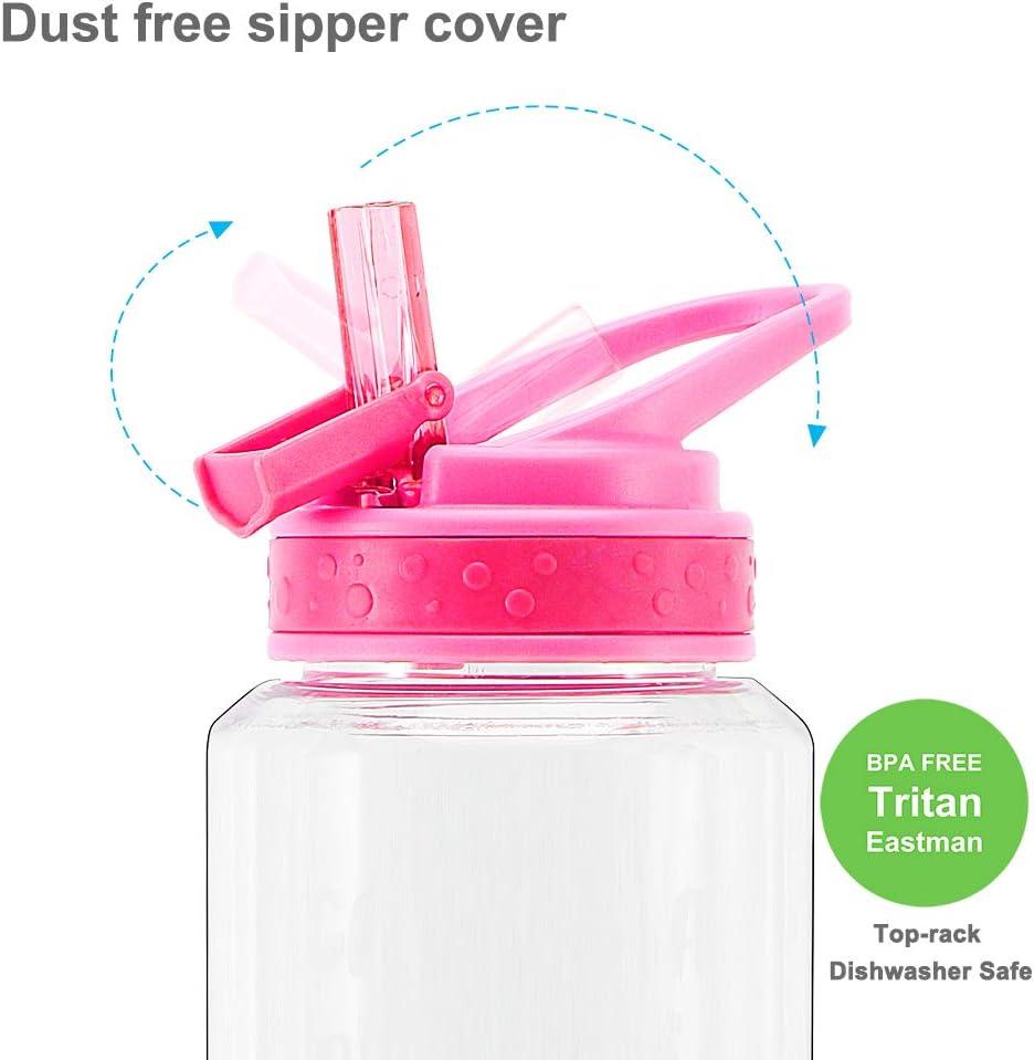 Home Tune 32oz Motivational Water Bottle with Straw /& Time Marker BPA Free Tritan /& Dustproof Flip Straw /& Leak Proof /& Carry Handle /& Pretty Design /& Easy Clean