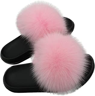 Women Real Fox Fur Feather Vegan Leather Open Toe Single Strap Slip On Sandals