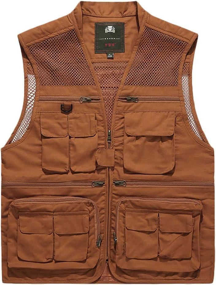 FHK Pocket Vest Cotton Summer and Autumn Men's Sports and Leisure Multi-Pocket Vest Workwear Jacket (Color : Orange, Size : L)