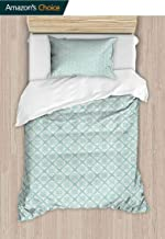 Teal and White Custom Made Quilt Cover and Pillowcase Set, Old Fashioned Abstract Mosaic Design Elements with Floral Details, Reversible Coverlet, Bedspread, Gifts for Girls Women, 63 W x 82 L Inches