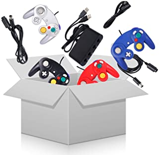 4 Pack Gamecube Controller Bundle with 4 Extension Cords and a 4-Port Adapter for Switch PC Wii U Console (Black&Red&Blue&Silver)