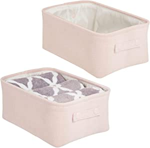 mDesign Soft Cotton Fabric Closet Storage Organizer Bin Basket with Coated Interior and Attached Carrying Handles for Bathroom Vanity, Cabinet, Shelf, Countertop - Wide, 2 Pack - Light Pink/Blush