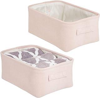 mDesign panier rangement tissu avec revêtement interne et design structuré (lot de 2) – rangement maquillage idéal – boite...