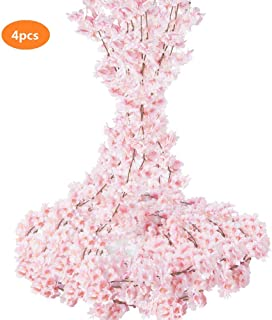 TOPHOUSE 4pcs Artificial Cherry Blossom Garland Hanging Silk Flowers Garland for Wedding Party Home Decor (Pink)