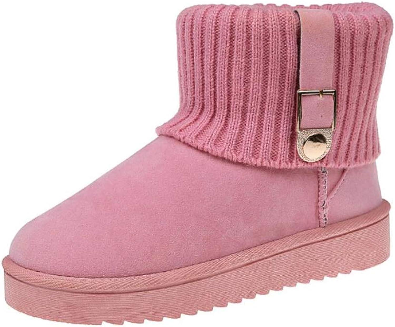 YUBUKE Women Fashion Warm Short Booties Outdoor Suede Flat Waterproof Snow Boots