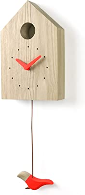 WOODSTUDIOALP Edge Bird House Clock, Non-ticking, 100% Handmade (Red)