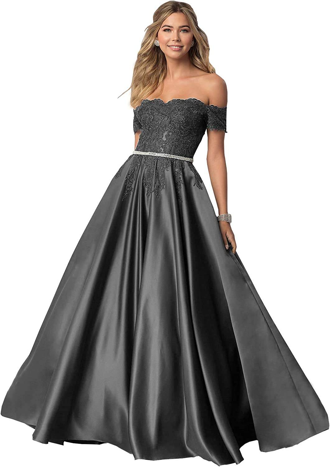 Women's Off セール価格 The Shoulder Lace Prom Dress A-Line 期間限定 Long Evening Gow