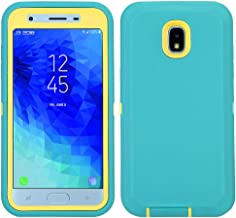 Annymall Galaxy J7 2018 Case, Heavy Duty Shockproof Defender Armor Protective Cover with Built-in Screen Protector for Samsung J7 2018/ Galaxy J7 Aero/ J7 Refine/ J7 Star/ J7 Crown(2018) (Mint/Yellow)