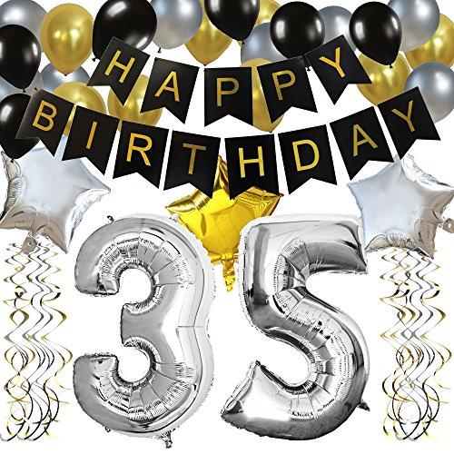 """KUNGYO Clásico Fiesta de Cumpleaños Kit Decoraciones-""""Happy Birthday"""" Bandera Negro; Número 30 Globo;Balloon de Látex&Estrella, Colgando Remolinos Partido para el Cumpleaños (35)"""