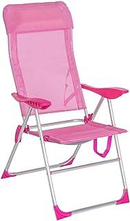 LOLAhome Sillón de Playa cojín 5 Posiciones Rosa de Aluminio de 110x66x61 cm