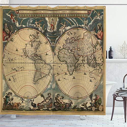 ABAKUHAUS Clásico Cortina de Baño, Mapa de Viejo Mundo, Material Resistente al Agua Durable Estampa Digital, 175 x 200 cm, Multicolor