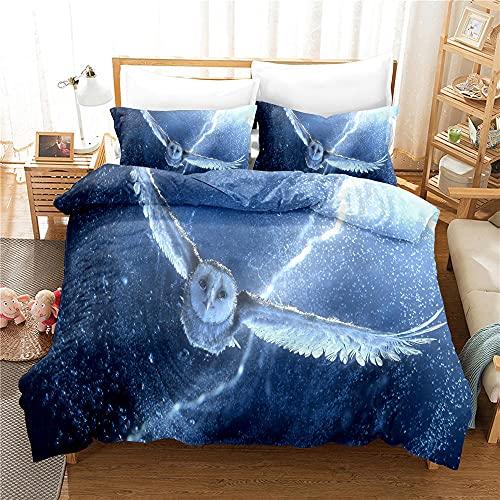 Qiuka Niños Funda Nórdica,120x150cm Búho Azul patrón Juego de Cama Niña y Niños Microfibra Funda de Edredón + Fundas de Almohada Y Cremallera Estampado con 3D