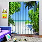 WAFJJ 2 Piezas Opaca Cortina Palmeras y Playa 3D Estampado Simple Cortinas Opacas con Ollaos para niños Hogar Salon Dormitorio Moderno Juveniles