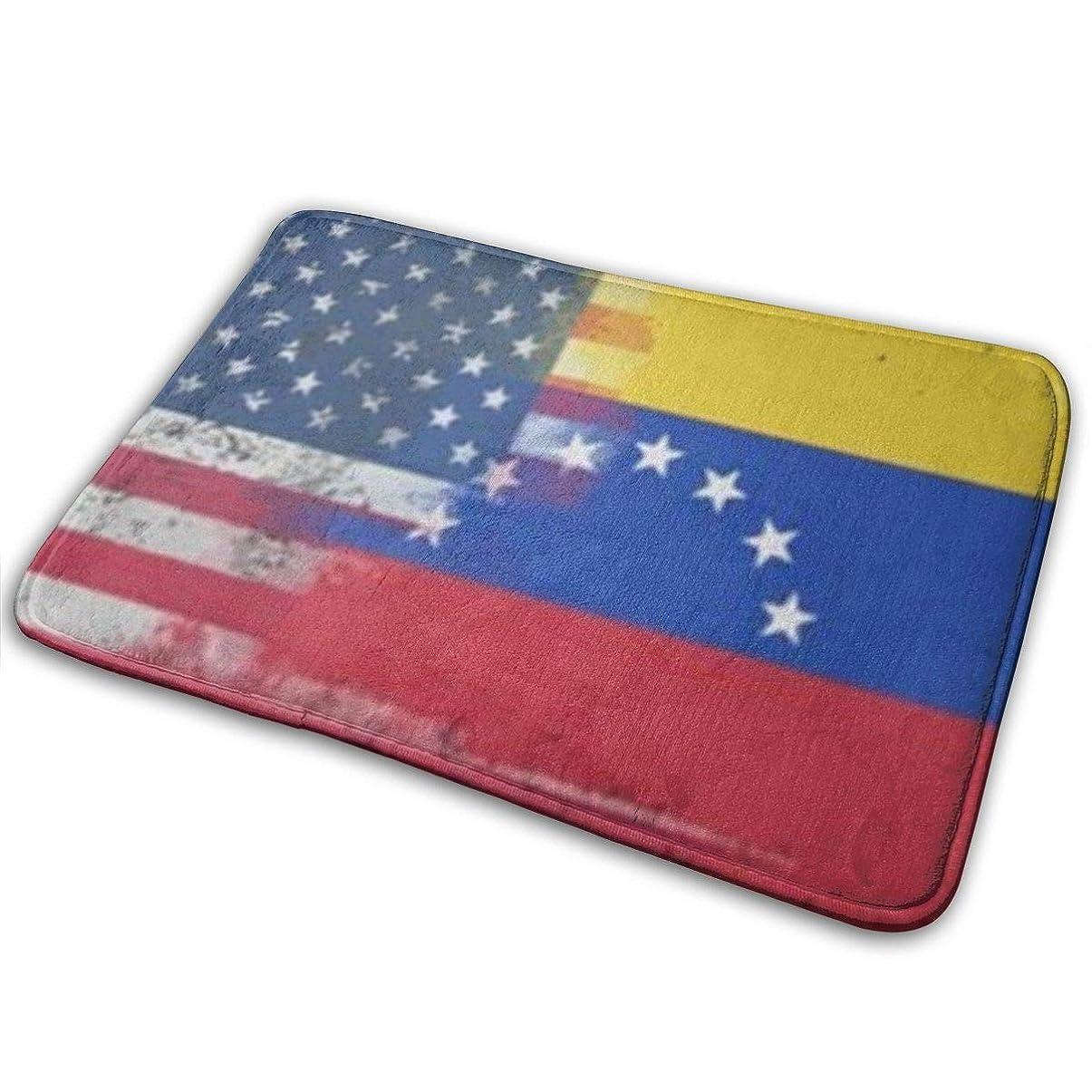 咲く脱走平日アメリカのベネズエラの旗楽しい歓迎玄関パーソナライズされた屋内フロアマットリビングルームの寝室の浴室のドアマット23.6 X 15.8インチ