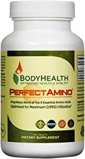 BodyHealth PerfectAmino Tablets (150 Tabs), BCAA+ Lysine, Phenylalanine, Threonine, Methionine, Tryptophan, 8 Essential Amino Acids Supplement, Muscle Mass Production, Recovery, and Strengthening