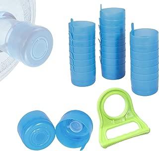 MagicFour 24PCS 3 and 5 Gallon Water Bottle Caps,Non Spill Cap Gallon Bottle Tops,Reusable Anti-Splash Water Jug Caps with 1 Piece Water Bottle Handle