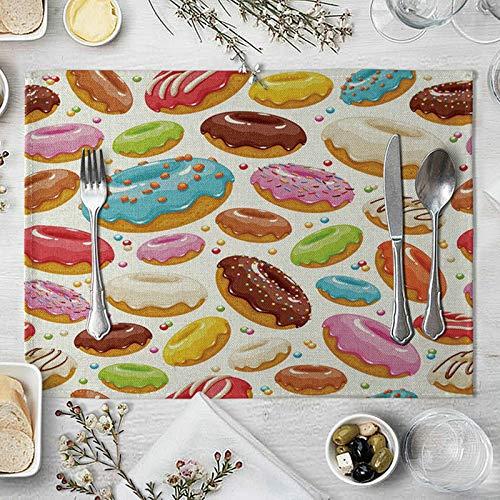 KnBoB Set de Table Lot de 2 Rectangulaire Coloré Tissu de Coton et de Lin 40x30cm Antidérapant Tapis de Table Beignets