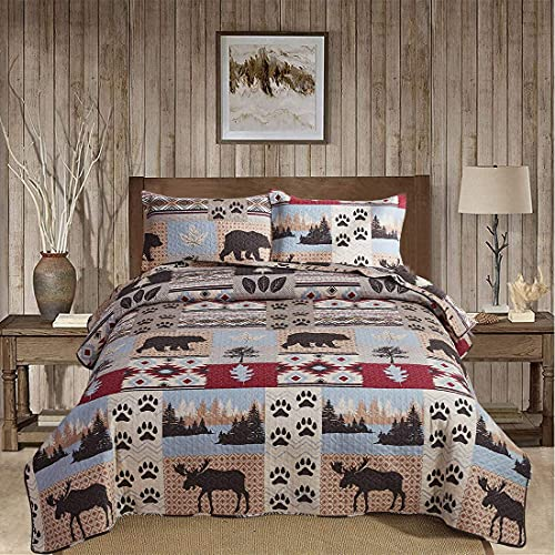 Rustikale Hütte Sommer Elch Bär Quilts King Size Lodge Tagesdecke Bärentatze Kiefer Ahornblätter Bettdecke Weich 135 * 200 cm A