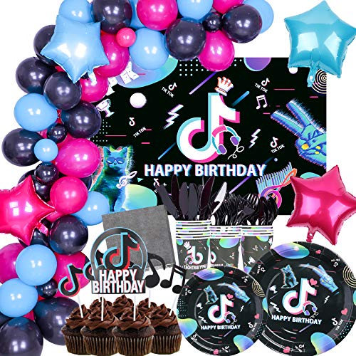 253 PCS Music Theme Party Supplies Tableware Set- Music Vedio Party Paper Plates Napkins Cups Cutlery Happy Birthday Backdrop Cupcake Topper Balloon Garland for Girls Women Men Boys Decor-Serves 16