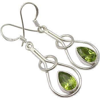 August Birthstone #ER106SSP Spring Sterling Silver Peridot Swirl Earrings