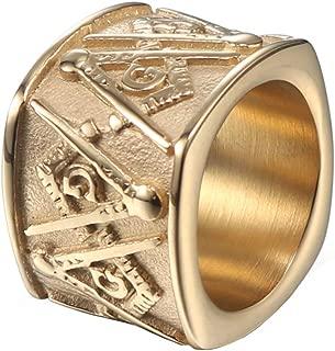 Men's Stainless Steel Freemason Symbol Masonic Rings Band Master Mason Wide Bands Gold Silver