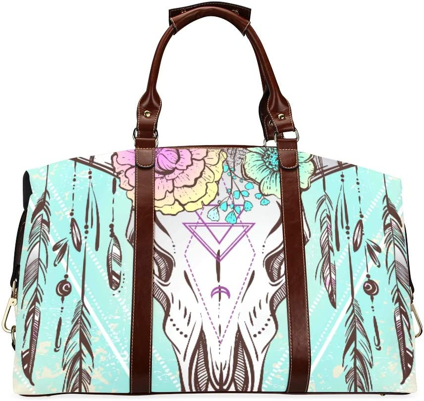 Travel Duffel Bags Ethnic Native Raleigh Mall Clas Selling and selling Skull Design American Bull