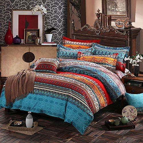 CoutureBridal Bohemian Duvet Cover Set Queen Size Vibrant Red Orange Boho Chic Floral Striped Bedding Sets Soft Lightweight Microfiber Reversible Quilt Covers with Zipper Ties