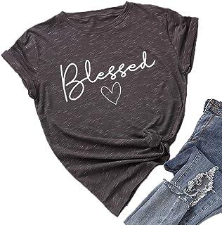 JTJFIT Blessed T-Shirt Women Shirt Short-Sleeve Girl Tees T-Shirts Top