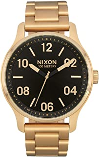 Nixon Patrol Gold/Black Men s Quartz and Custom Stainless Steel Watch. (42mm. Gold & Black Watch Face/Gold Stainless Steel Band)