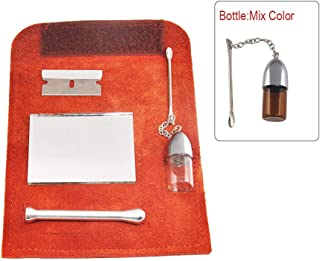 Tutien Genuine Leather Tobacco Pouch Bag+Snuff Snorter Tool Sniffer Straw Hooter Hoover Pipe Case Pocket