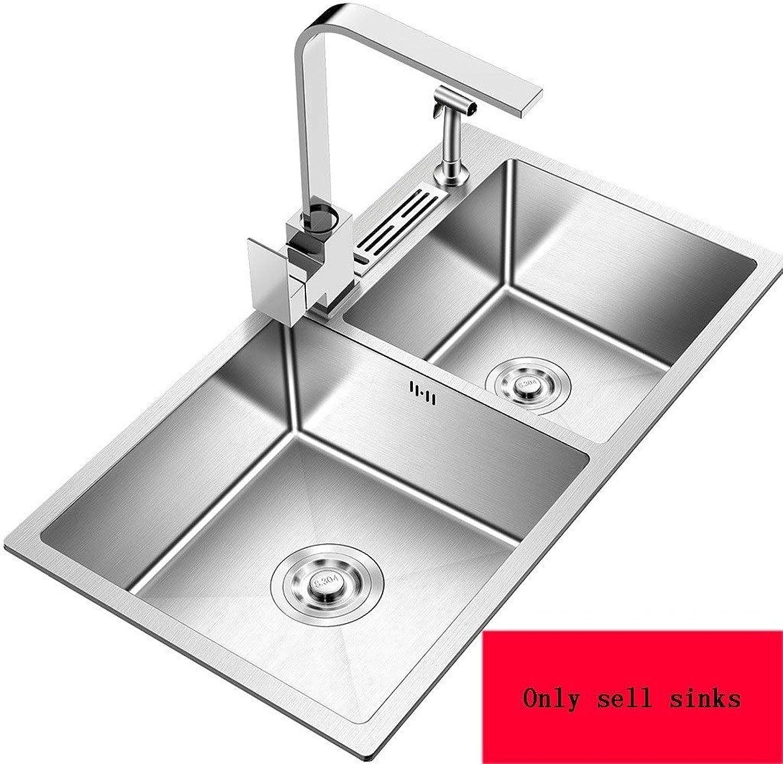 Spültischarmaturen Küchenspüle Groe Kapazitt Doppelschlitz Design Edelstahl Metall Einfach zu Hause Waschbecken Geschenk zu installieren (Farbe   Silber, Größe   72  40  20.5cm)