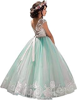 44c41bf2019 NNJXD Robe brodée de Bal en Tulle de Princesse pour Partie Formelle Longue  Queue Robes