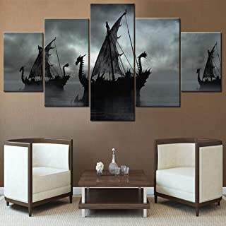 Black and White Painting Sailing Ship Artwork Fantasy Boat Pictures for Living Room 5 Panel Dragon Canvas Wall Art Modern Home Decoration Framed Stretched Ready to Hang Posters and Prints(60''Wx32''H)
