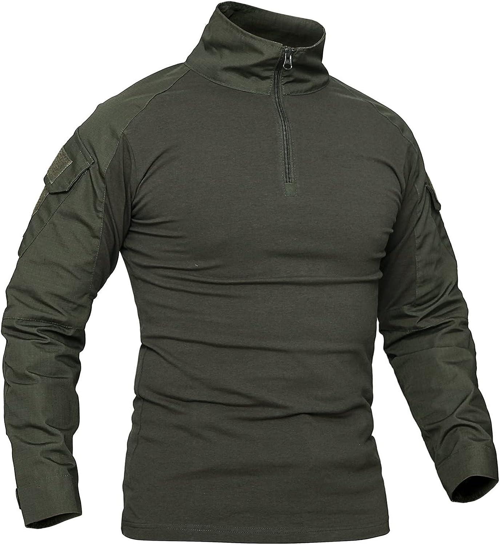 Men's Long Sleeve Camo Training Sport Shirt 1/4 Zipper Outdoor Military T-Shirt Tops
