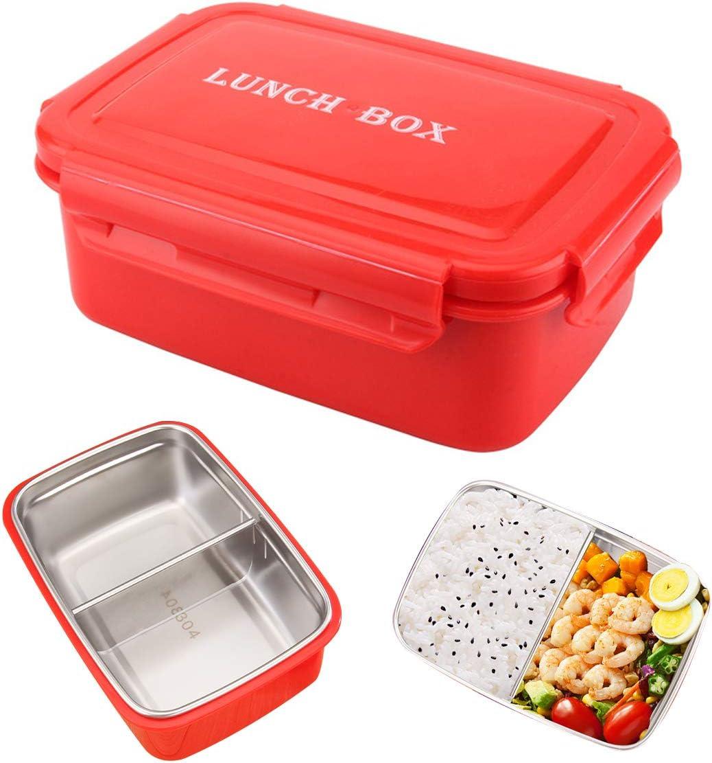 Saijer Caja Bento Lunch Box De Acero Inoxidable Fiambrera Bento Box con Divisor Extraíble para Adultos Y Niños Familia Picnic Viaje para Lavavajillas Microondas Congelador