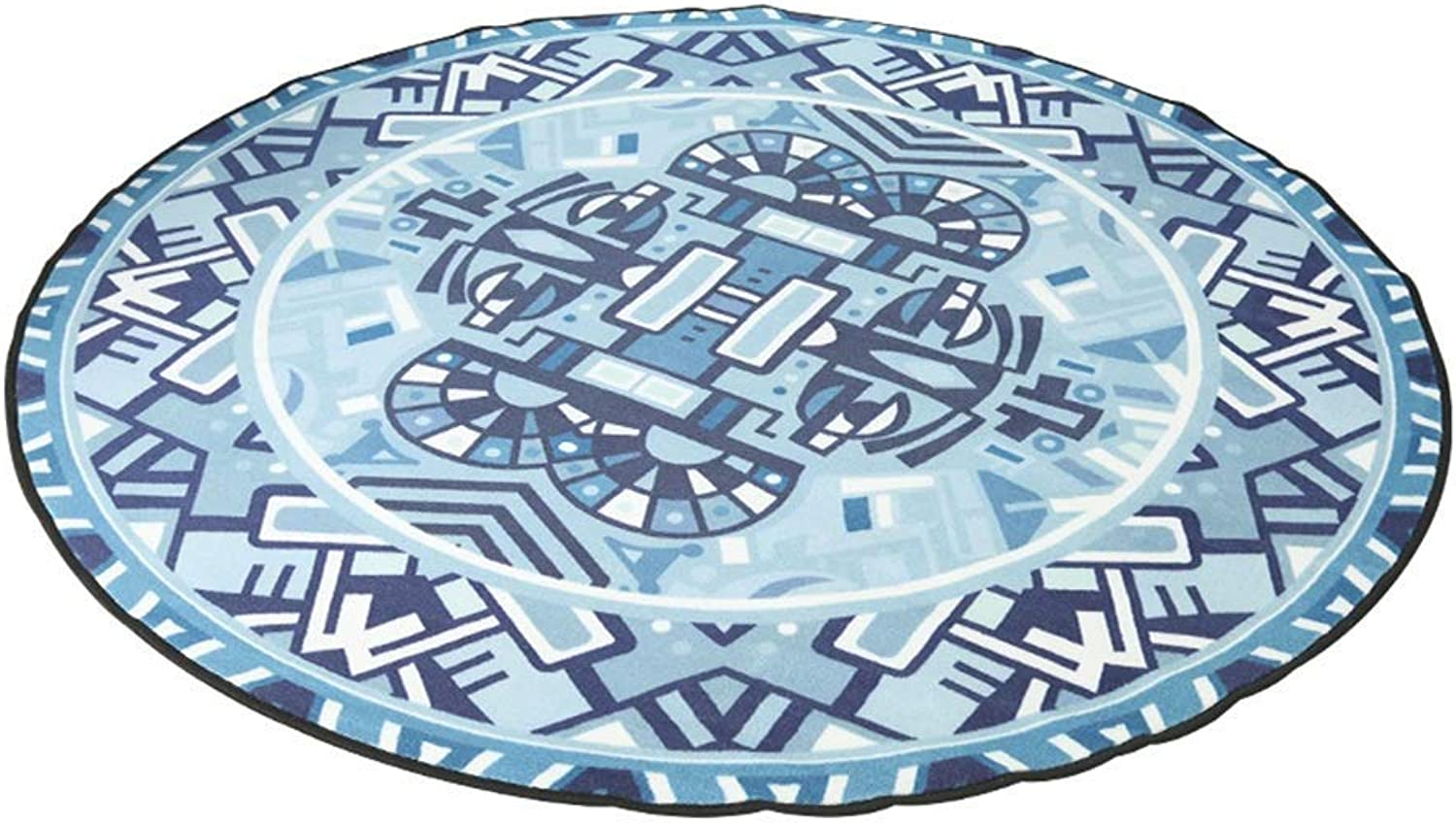 Royare Home Decorations mat Round Carpet Blended National Wind Print Nordic Simplicity Washable Living Room Bedroom Round Pad Rocking Chair Mat (Size   80x80cm)