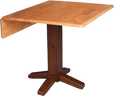 International Concepts T58-36SDP Square Dual Drop Leaf Dining Table 36 Cinnamon/Espresso