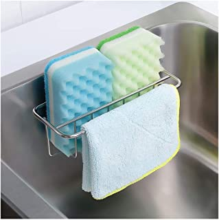 Adhesive Sponge Holder + Dish Cloth Hanger, 2-in-1 Sink Caddy, SUS304 Stainless Steel Rust Proof Water Proof, No Drilling