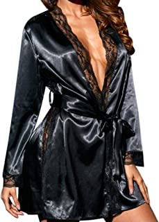 Auwer Women's Kimono Robe Satin Lounge Bridesmaids Dressing Babydoll Lace Lingerie Bath Robe Nightwear