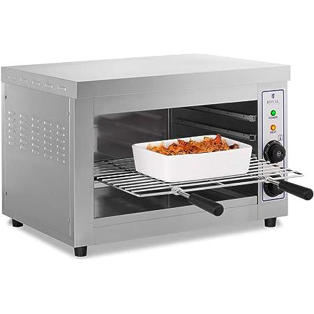 Royal Catering Horno Tostador Hornillo eléctrico Salamandra Cocina RCES-580 (3250 W, 230 V, 50-300° C, Temporizador 15 min, Acero inoxidable)