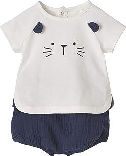 VERTBAUDET Ensemble naissance T-shirt et short de cérémonie bébé bleu jean 3M - 60CM