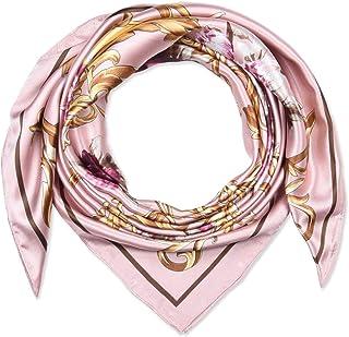 35 بوصة المرأة مربع الحرير يشعر الأوشحة وشاح الرأس للنوم زهرة الكرز الوردي الزهور
