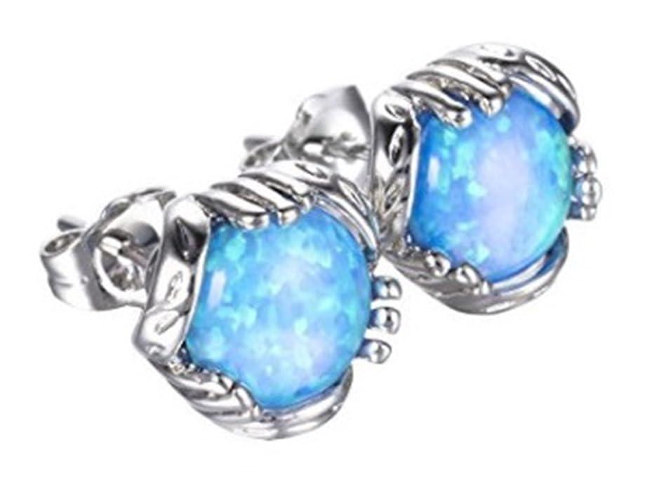 Fortonatori Created Blue Opal Earrings Stud Silver 925 Round Ball 0.29 inches